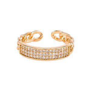 NWT Ettika CZ Link Ring in Metallic Gold Crystal 7